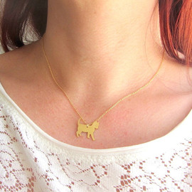 lunahoo - Tiny and cute kitty cat charm gold choker necklace