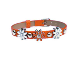 Luulla - Orange Studded Leather Charm Bracelet - Orange With Daisy Slide Charms - Silver Studs
