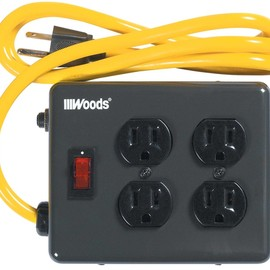 Woods - 2177 4-Outlet Metal Power Block Adapter with Lighted Switch, 4-Feet, Black