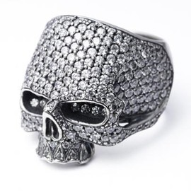 JAM HOME MADE - MASTER SKULL RING PAVE (CLEAR)