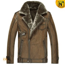 CWMALLS - Mens Calfskin Leather Shearling Jacket CW877049