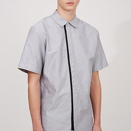 ALEXANDER WANG - SHORT-SLEEVE KNIT COMBO SHIRT