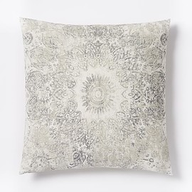 west elm - Distressed Ornament Velvet Pillow Cover - Ivory