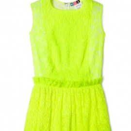 MSGM - Fluoro Yellow Lace Peplum Top