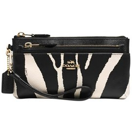 COACH - COACH ZIPPY WALLET WITH POP-UP POUCH IN ZEBRA PRINT LEATHER