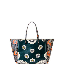 VALENTINO - SS2015 Covered Mixed Floral-Print Tote Bag, Green/Raspberry