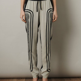 OHNE TITEL - stripe side print silk trousers
