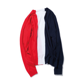 SOPHNET. - CENTER PANEL CREW NECK KNIT/RED × NAVY