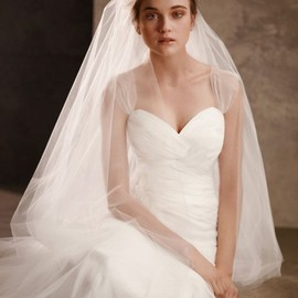 White by Vera Wang - Soft Net Gown with Delicately Draped Bodice