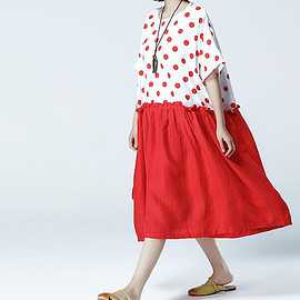 Black/ red Loose Oversize Dress/ Summer Cotton and linen large size Dresses