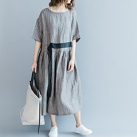 long Dresses - gray with pockets Dresses short sleeved round collar loose linen long Dresses