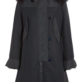 Moncler - Blanche shearling and twill-trimmed wool-blend coat