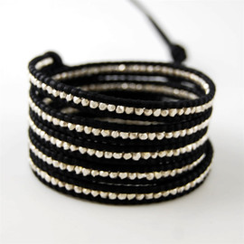 CHAN LUU - Sterling Silver Nugget Wrap Bracelet on Black Leather