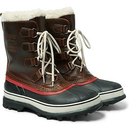 Sorel - Caribou Faux Shearling-Trimmed Waterproof Leather and Rubber Boots
