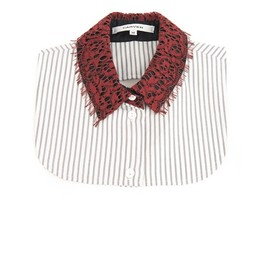 CARVEN - Lace and striped-cotton collar