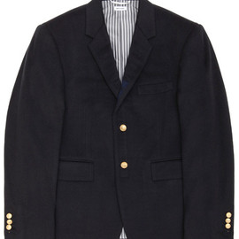 THOM BROWNE - Navy cashmere blazer with grosgrain detail