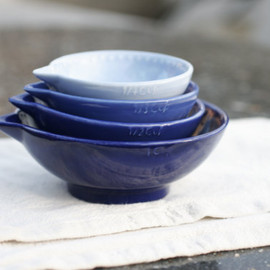 GrayDecember - Cobalt Blue Measuring Cup Set of Four - Ombre Indigo Nesting Kitchen Gift - Hand Painted