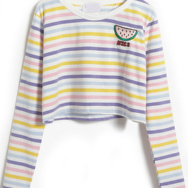 Watermelon Pattern Striped Crop T-Shirt pictures