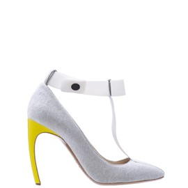Nicholas Kirkwood - Roksanda Illincic grey jersey pumps with white bow and yellow patent heel.