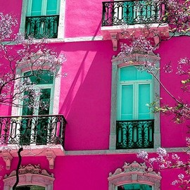 pink exterior wall apartment