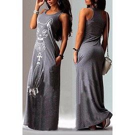 Fashionable U Neck Sleeveless Animal Printed Women's Maxi Dress
