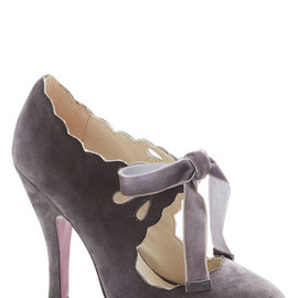Stagehand in Hand Heel in Grey - Grey, Solid, Cutout, Scallops, High