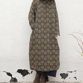 dress - Winter cotton padded floral dress Loose Long robe Winter gowns