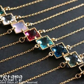 Ostara - 【14KGF】Bracelet,16KGP Square Cutting Glass