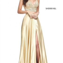 sherri hill dresses - 2-PC Long Sherri Hill 50993 Gold Beads Deep V-neck Slit Party Dress 2017