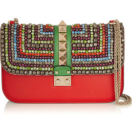 VALENTINO - Glam Lock medium crystal-embellished leather shoulder bag
