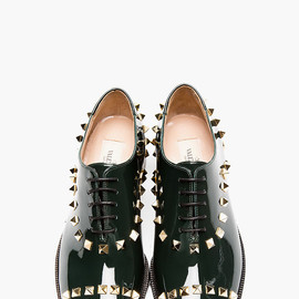 VALENTINO - DEEP GREEN PATENT ROCKSTUD T.25 OXFORDS