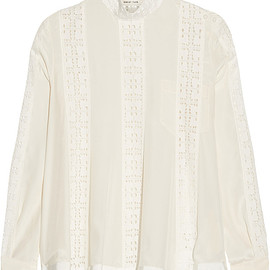 sacai luck - crepe de chine and lace top