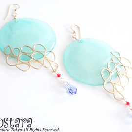 Ostara - Bubble Emerald Shell  Earrings