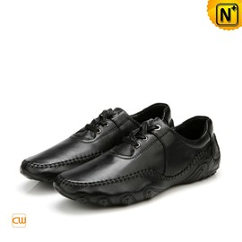 CWMALLS - Mens Black Leather Driving Loafers Shoes CW719023 - CWMALLS.COM