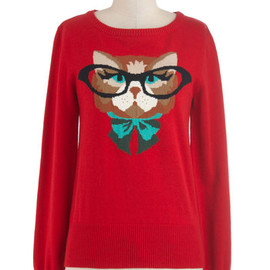 Louche - Cat Eyeglasses Sweater in Red by Louche - Red, Green, Brown, Black, Casual, Long Sleeve, Mid-length, Quirky, Print with Animals, Fall