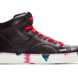 Lanvin - Black Leather Painted Mid-Top Sneakers