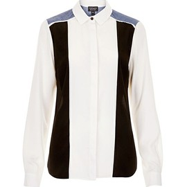 TOPSHOP - LONGSLEEVE MIXED PANEL SHIRT