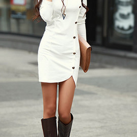 Fashion Round Neck Side Single-breasted Long Sleeve Dress