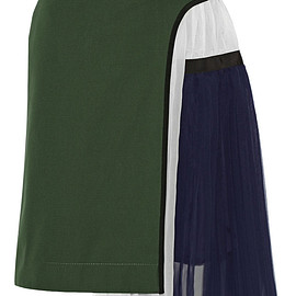 sacai - SS2015 Pleated cotton and silk-blend twill and chiffon skirt