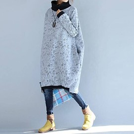 Winter dress Large size - Cotton dress high collar dress Winter dress Large size Bottom dress in Gray Casual Dresses for Women