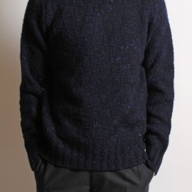 DRIES VAN NOTEN - Tito Roll Neck Knit in Navy FLeck