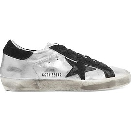 Golden Goose Deluxe Brand - Super Star distressed suede-paneled metallic leather sneakers