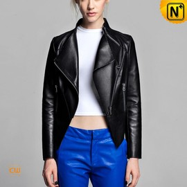 cwmalls - Black Cropped Leather Moto Jacket for Women CW614002