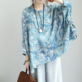 Oversize top - Linen large size shirt, Oversize top, blouses t-shirts, printing shirt , everyday women clothes