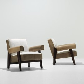 LE CORBUSIER AND PIERRE JEANNERET - pair of lounge chairs from the High Court, Chandigarh