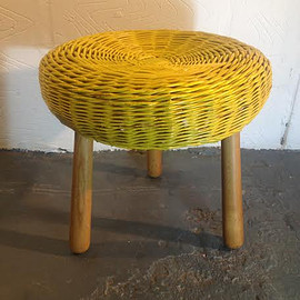 EasyTigerInteriors - Mid Century Tony Paul, Wicker Stool/Table in Bight Yellow