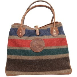 Yuketen - STRIPE WOOL TOTE W STRAP - BROWN