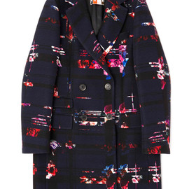 MSGM - Double Breasted Floral Wool Coat
