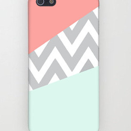 TopQualityCase - Mint & Coral Chevron iPhone Case