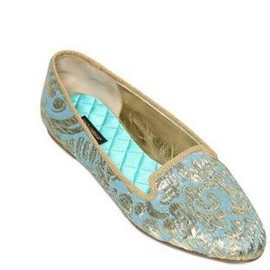 DOLCE&GABBANA - 【関税込!!! 12/FW新作★円高還元】DOLCE & GABBANA  10MM BROCADE GOLD LOAFERS blue 1